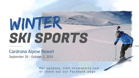 Winter Sports Skiing Facebook Cover Video template