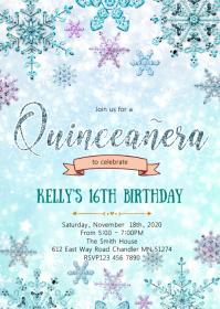 Winter theme 16th birthday invitation