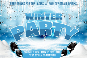 Winter themed Party Night Poster