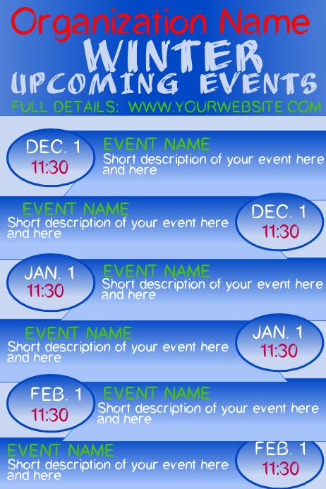 Winter Upcoming Events Calendar