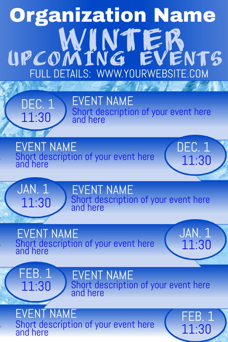 Winter Upcoming Events Calendar 2