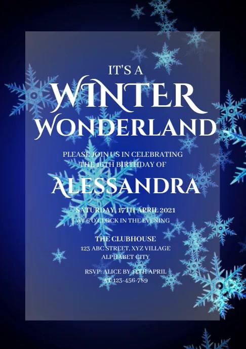 Winter Wonderland Invitation A4 template