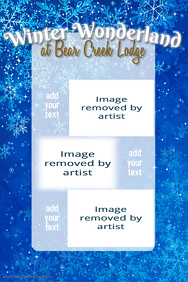 Winter Wonderland Snow Dance Dinner Event flyer snowflake
