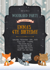 Winter woodland birthday party invitation