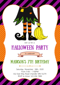 Witch halloween birthday party invitation A6 template