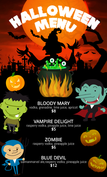 witch halloween menu us legal template