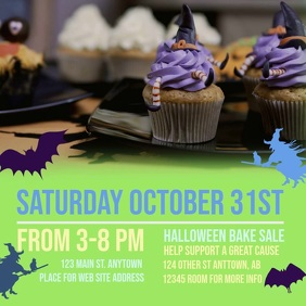 Witchy Bake Sale Square Advert template