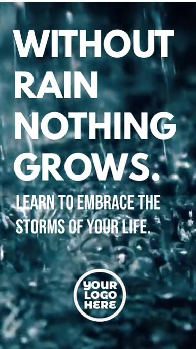 Without rain nothing grows inspiration video Digitale display (9:16) template