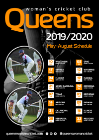 Woman's Cricket Team Poster A3 template