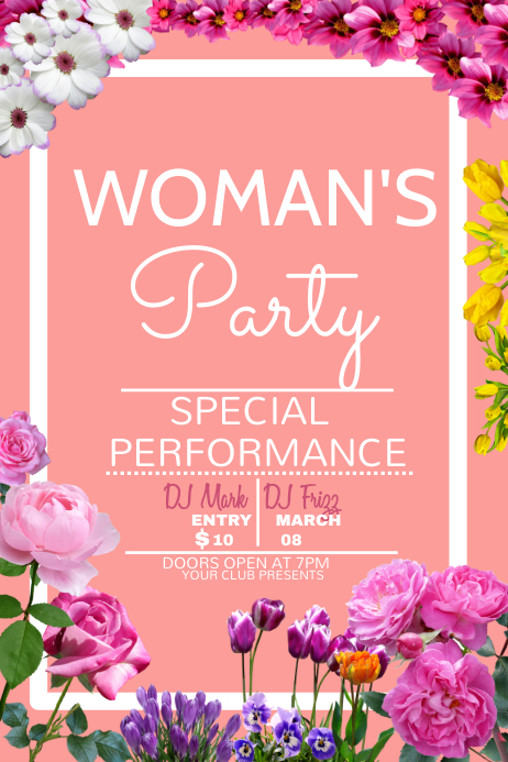 Woman's day template, party poster template