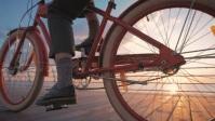 Woman cycling as the sun rises YouTube Thumbnail template