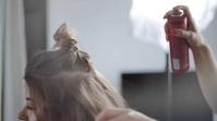Woman getting hair spray in salon Фотография обложки канала YouTube template
