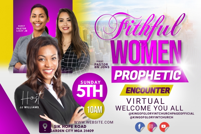 Women's conference flyer Etiqueta template