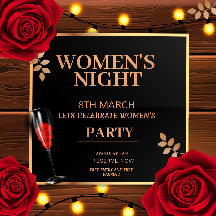 women's day,party,dinner,mothers day 方形(1:1) template