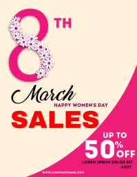 Women's day 8th March sales Pamflet (Letter AS) template