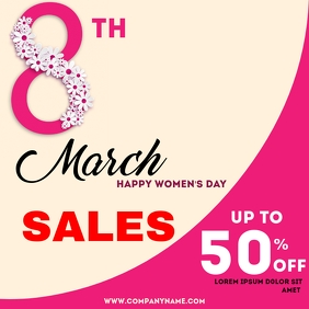 Women's day 8th March sales Сообщение Instagram template