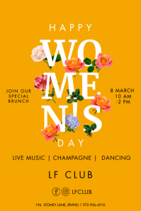 Women's day celebration Poster with flowers template