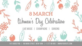 Women's day celebration Poster with flowers Ikhava Yevidiyo ye-Facebook (16:9) template