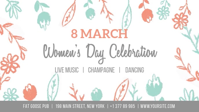Women's day celebration Poster with flowers Video Sampul Facebook (16:9) template