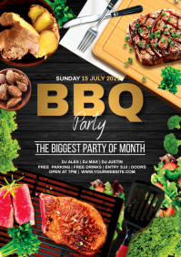 steak BBQ grilled party A5 template