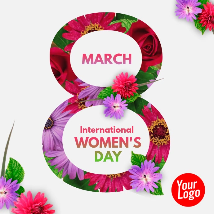 Women's Day Flower Animation Square Video