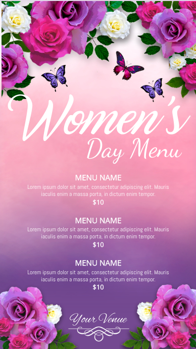 women's day menu, mother's day menu Ecrã digital (9:16) template