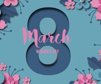 Women's day paper style with date Średni prostokąt template