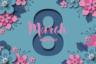 Women's day paper style with date Poster template