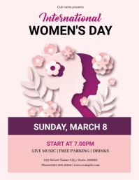 Women's Day Party Flyer Folheto (US Letter) template