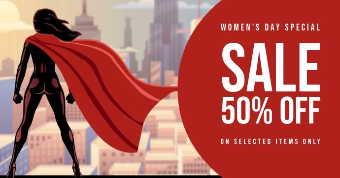 Women's day sale template Facebook Gedeelde Prent