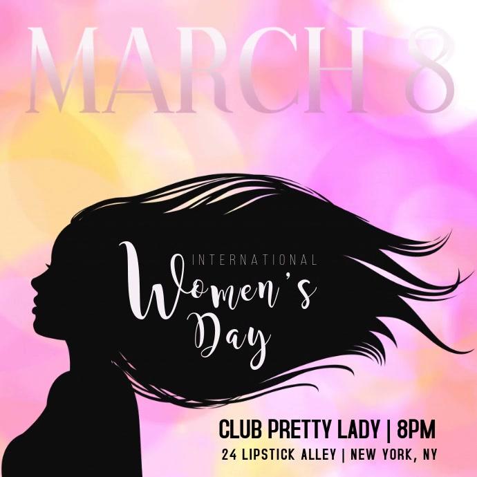 Women's Day Silhouette Woman Flyer Kwadrat (1:1) template