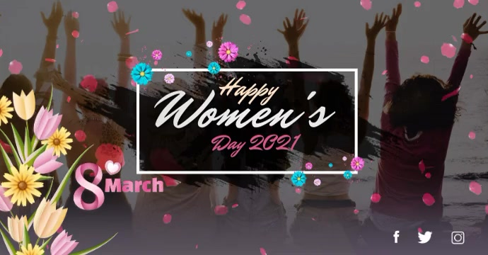 Women's Day wishes video template Facebook 广告