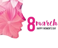 Women's Day with girl face made with flower Mellemstort rektangel template