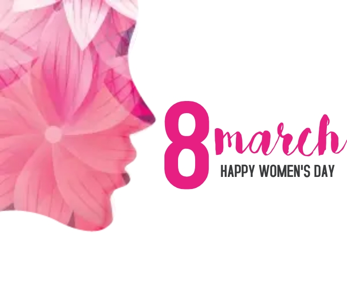 Women's Day with girl face made with flower Średni prostokąt template