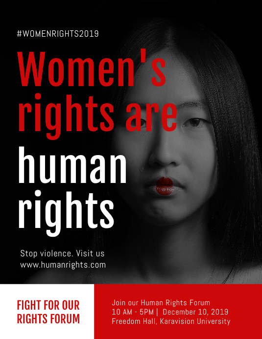 Women's rights are human righsts Flyer Folheto (US Letter) template