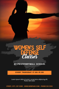 women's self defense Classes Flyer Template Poster