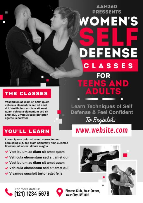 Women's Self Defense Flyer A4 template