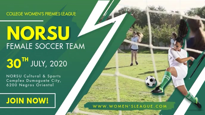 Women's Soccer Team Tryouts Facebook Cover Vi template