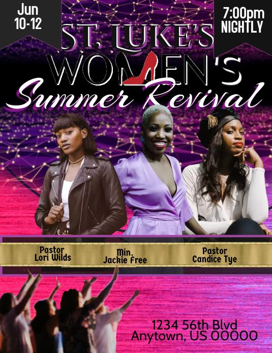 Women's Summer Revival Pamflet (Letter AS) template