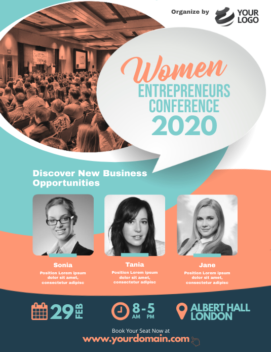 Women Business Conference Event Flyer template