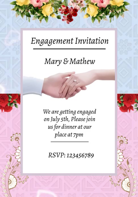 Engagement invitation announcement A4 template