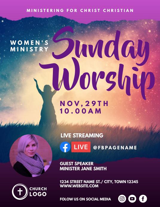 Women ministry sunday worship 传单(美国信函) template