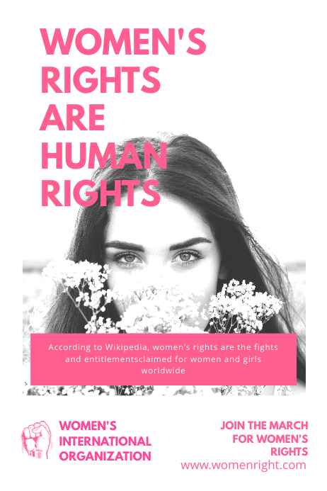 Women Rights White and Pink Poster