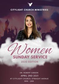 women sunday service church flyer A3 template