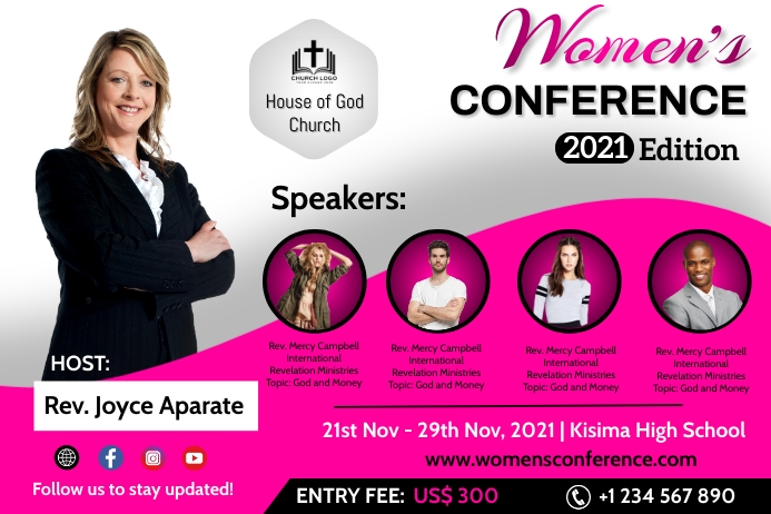 Womens conference Cartaz template