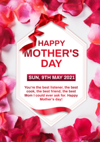 Mothers day greeting card A4 template