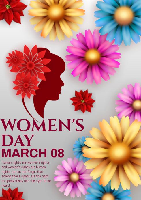 womens day flower card A4 template