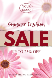Womens Fashion Sale Special Poster Flowers Ad Póster template