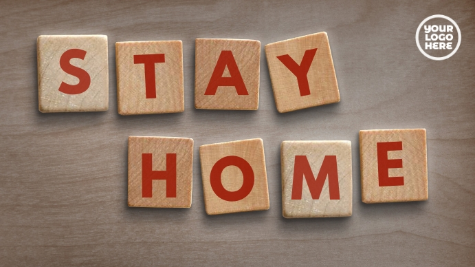 Wood Block Letter Stay Home zoom background