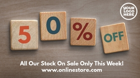 Wood Blocks 50% off Sale Post Template